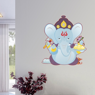 An innovative Ganesha wall sticker, to celebrate the upcoming Ganesh Chaturthi festival. Available in various size and color variants, on www.gloob.in