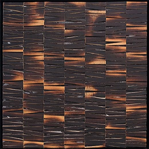 CHAR CHAR CHAR  by David Roach                                  Charred cedar, acrylic on board.                    36 x 36 cm $660 - SOLD -