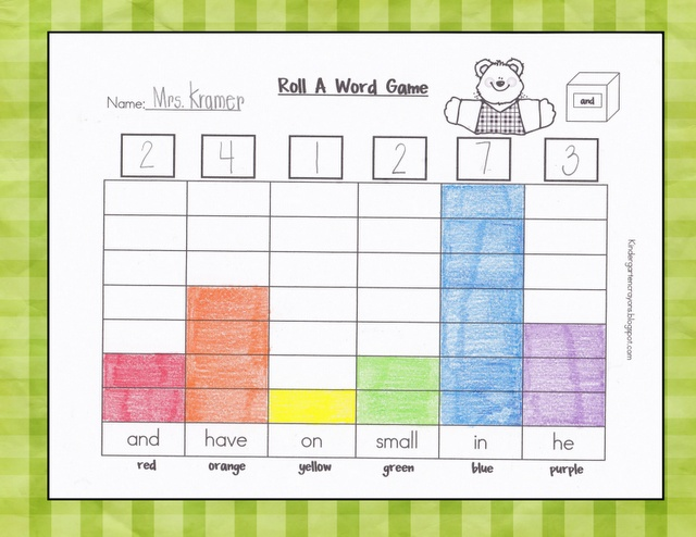 Roll A Word Game to Build Sight Word Knowledge