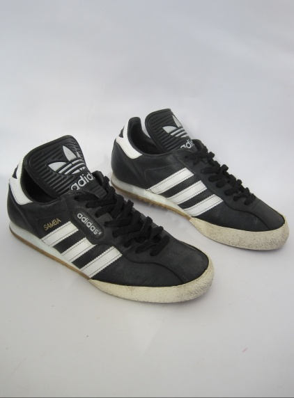 Vintage 1990s Men's Black Leather Adidas Samba Trainers