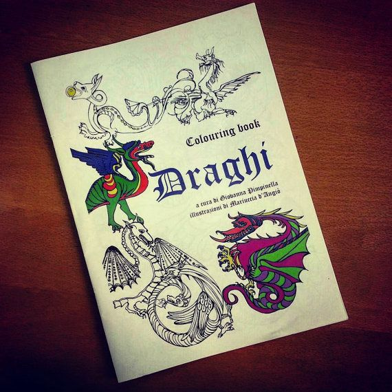 Colouring book DRAGHI di Roomofwonders su Etsy