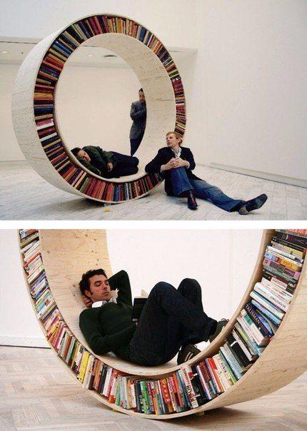 Unusual design of shelves for storing books