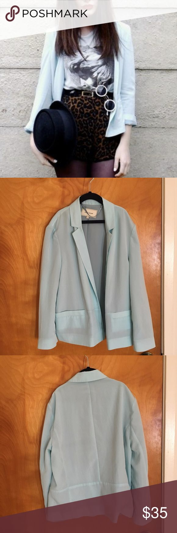 River Island Light Blue 3/4 Sleeve Cropped Blazer Light enough for summer, to dress up any outfit.  Looks super cool over a dress, or with a cool tee, shorts and tights or leggings.  Pair with this Casanova tee, which I also have for sale. River Island Jackets & Coats Blazers