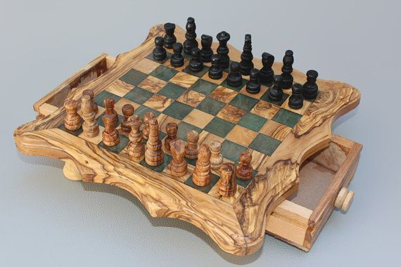 Handcarved Chess Board / Wooden Chess Set / by TunisiaBazaar