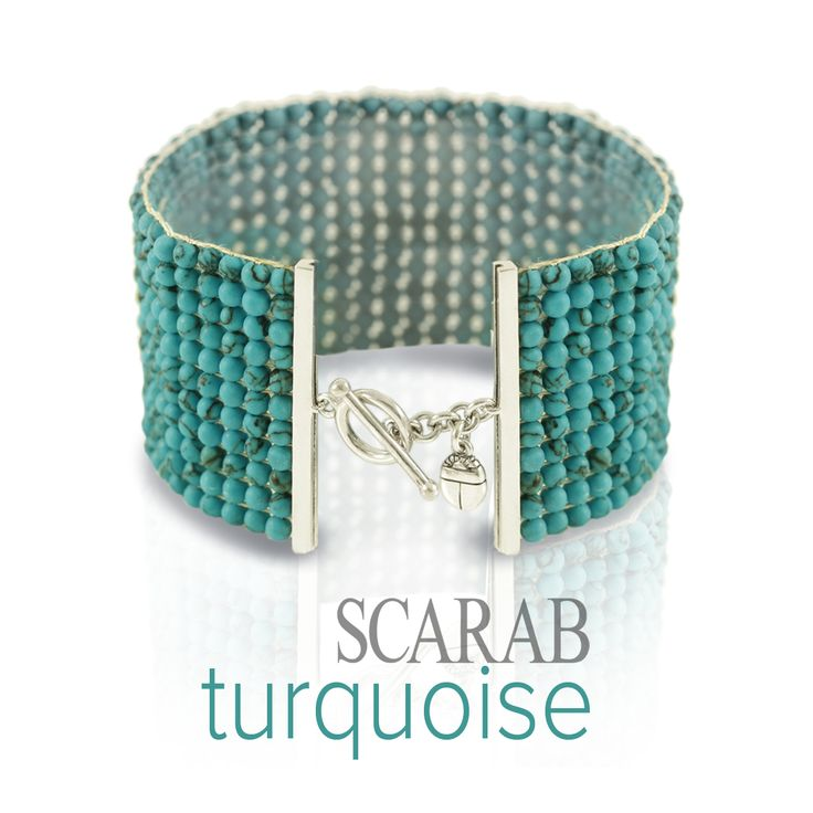 Turquoise Stone Beaded Cuff by Scarab Jewellery Studio.  Turquoise is among the most popular bead gemstones, and stranded turquoise bead bracelets and necklaces are extremely sought after. It is frequently cut and polished into cabochons, and can be used as large pendant stones, in rings or cufflinks. It is usually set in silver jewellery but it can be even more striking when used in conjunction with gold – just ask King Tut.