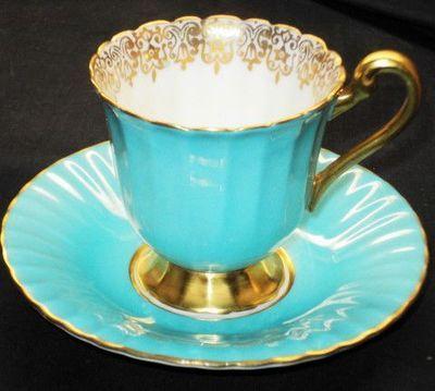 Paragon Incandescent Gold Aqua Blue Demi TEA CUP AND Saucer   eBay