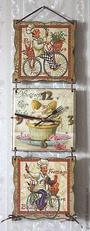 """Часы для дома ручной работы. Ярмарка Мастеров - ручная работа. Купить Часы-панно кухонные """"Французский повар""""  (вариант 2). Handmade."""
