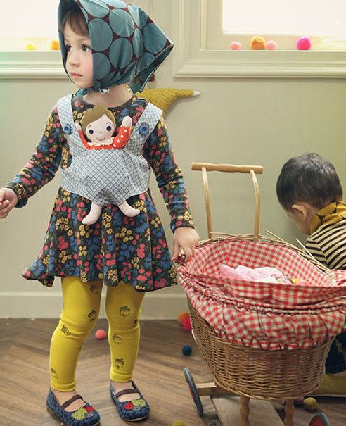 Girl's  dress with doll for  Christmas, Everyday! brown flower cotton dress for Autumn, winter 24M~8Years old Made to order