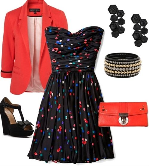 Fun and cute... Love the dress - Click image to find more fashion posts