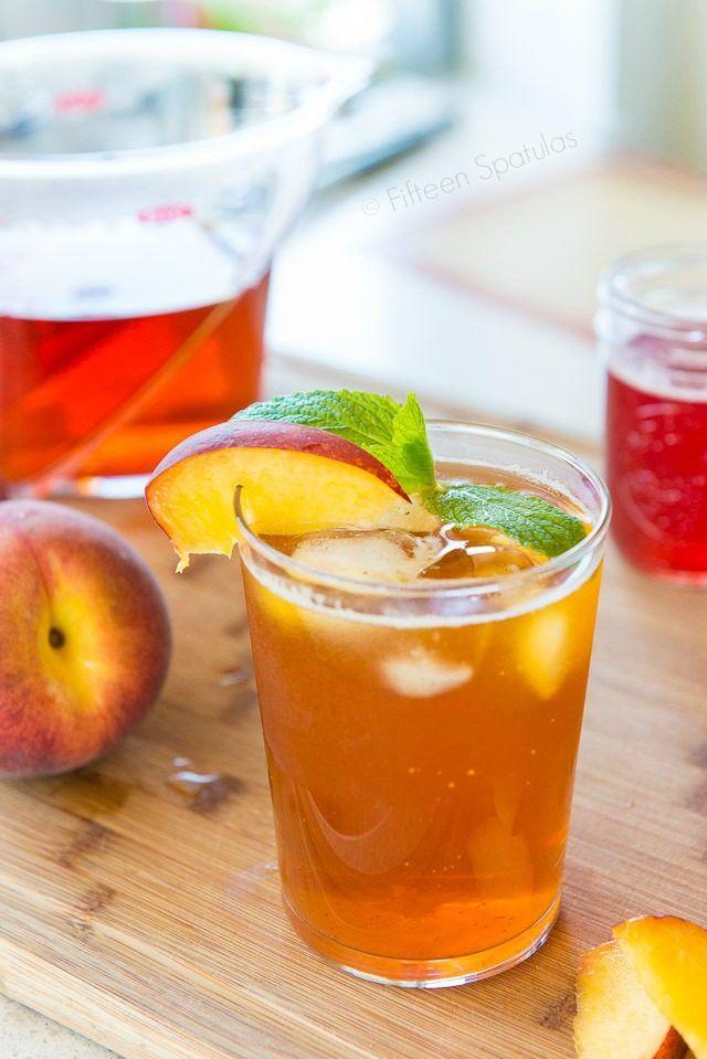 Sparkling Peach Iced Tea - Freshly brewed iced tea with a homemade fresh peach simple syrup. So refreshing!