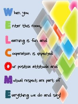 ACROSTIC POEM WELCOME SIGN FOR CLASSROOM - TeachersPayTeachers.com