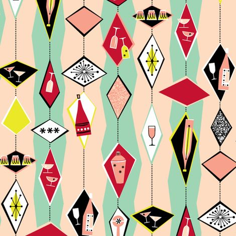50s retro cocktail diamonds fabric pattern and design for 50 s style kitchen designs