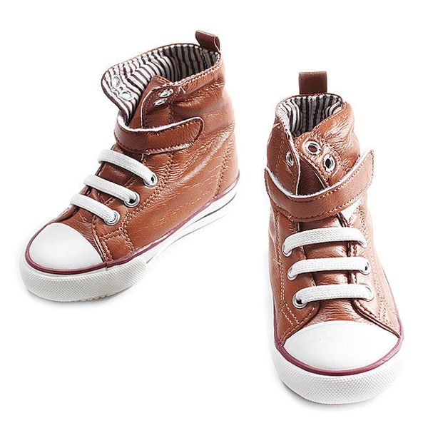 Sumptuous leather, striped lining, tons of attitude. These are perfect for your little dude!