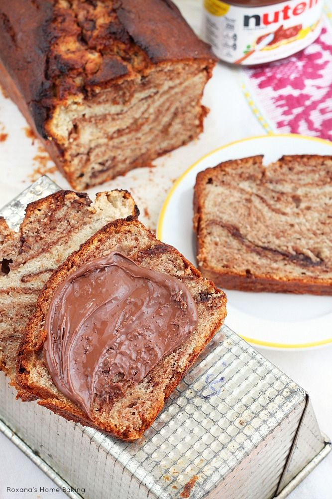 Incredible moist and soft banana bread with swirls of Nutella. Recipe from Roxanashomebaking.com
