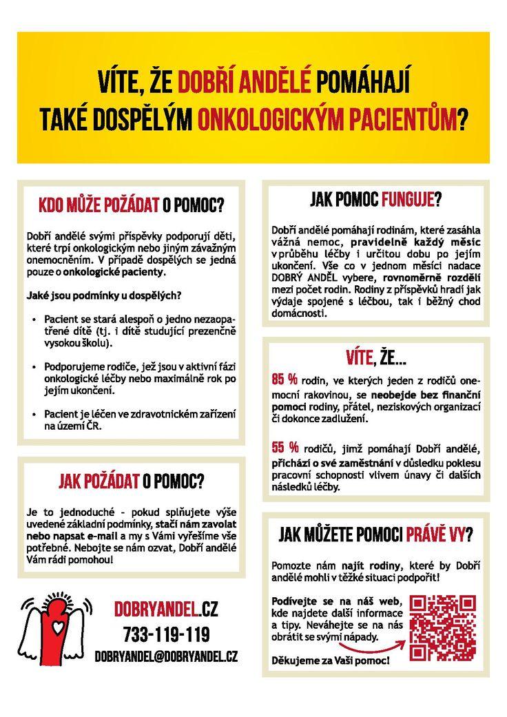 Víte, že Dobří andělé podporují také dospělé onkologické pacienty s nezaopatřenými dětmi? Více informací najdete zde...https://www.dobryandel.cz/pomahame-rodicum/