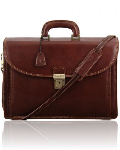 TAORMINA TL141205 Exclusive leather laptop case 3 compartments - Cartella in pelle portanotebook 3 scomparti