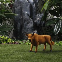 Spanish Bullfight Toy Farm Cow Figurine Realistic Furry Lifelike Browm Cow 30 Cm Long