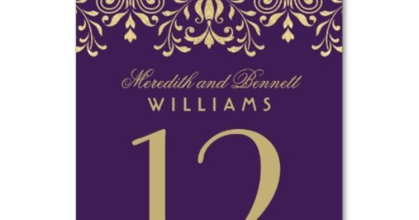 Wedding Table Number | Purple Gold Vintage Glamour | Wedding Table numbers | Pinterest | Glamour Vintage, Oro Viola e Numeri Di Tabellone Di Nozze