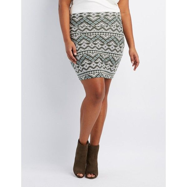Charlotte Russe Printed Bodycon Mini Skirt ($8.39) ❤ liked on Polyvore featuring plus size women's fashion, plus size clothing, plus size skirts, plus size mini skirts, multi, short mini skirts, mini skirt, womens plus size skirts and tribal mini skirt