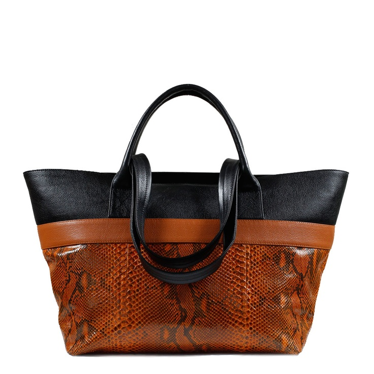 BOLDO Shopper Tote in Cognac Python. With a short handle for holding by hand, and a long strap for wearing over the shoulder, this Boldo Shopper Tote is best worn doubled up with a smaller bag on a busy day. Roomy and adaptable, it's excellent for travelling and overnights, or for work and weekends. This Shopper Tote is lined in a faux suede for luxury hand-feel. AU$550