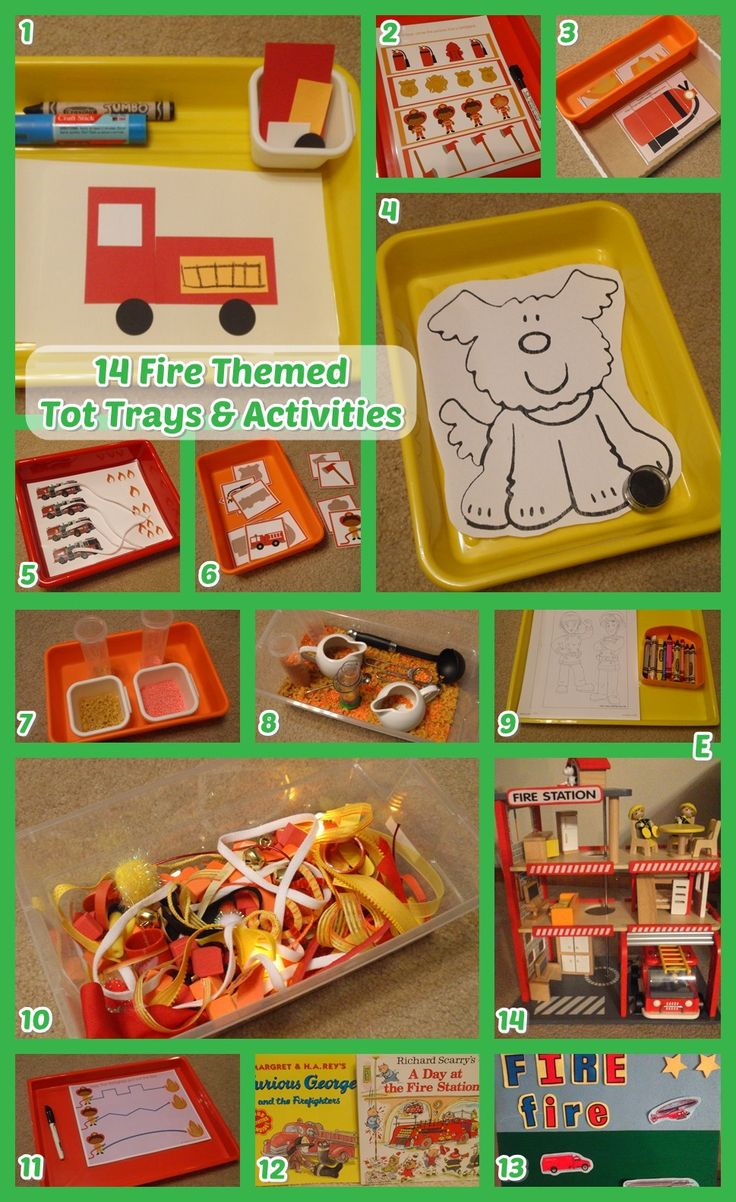 14 fire and fire fighter themed tot trays and toddler activities! We used this set with our 2.5 year old boy. (Fun!)