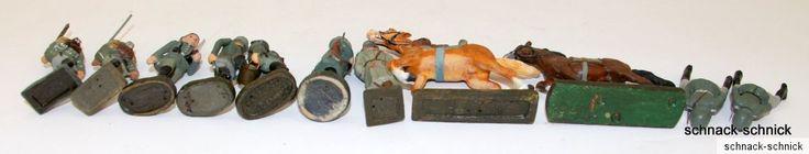 9x Antik Figur Elastolin Lineol Schusso 7,5 Soldat Reiter helm Offizier General