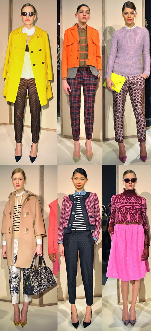 J. Crew Fall 2012 saturated brights.  Love the purple, pink dress, and yellow coat.  Oh and the mixed prints with black and pinky purple.