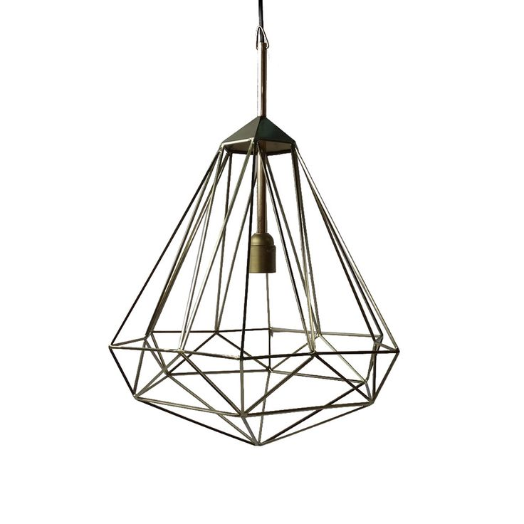 Diamond Lamp - Brass - Medium from Pols Potten Brighten up your home in style with this striking lamp. Crafted from brass coloured iron this pendant lamp has a geometric shape design that will suit any interior. After years of stainless steel and chrome the trend is now swinging back to warmer shades of brass, burnished gold and hammered bronze. Be first with this beautiful lamp design.