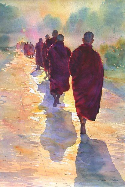 'Morning Walk' - Khin Maung Zaw (b.1970)