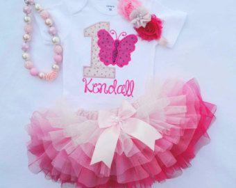 Primera cumpleañera de traje, traje de cumpleaños mariposa, smash torta chicas ropa, chicas Vestido de cumpleaños 1, tutú rosa ombre, uno año viejo cumpleaños
