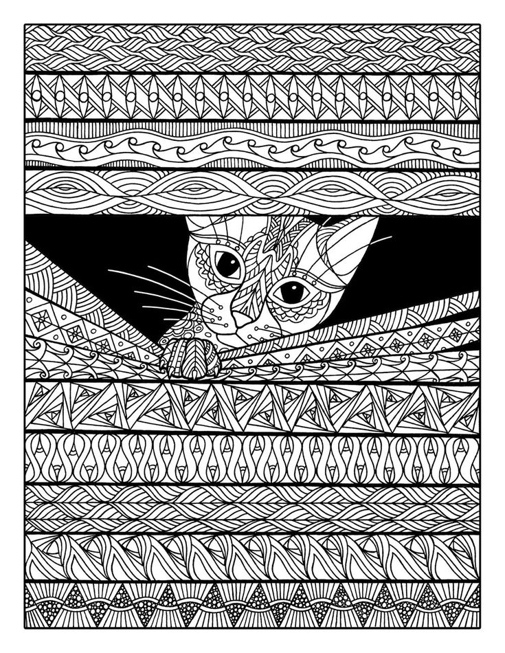 cheeky cat adult coloring page - Sheets To Color