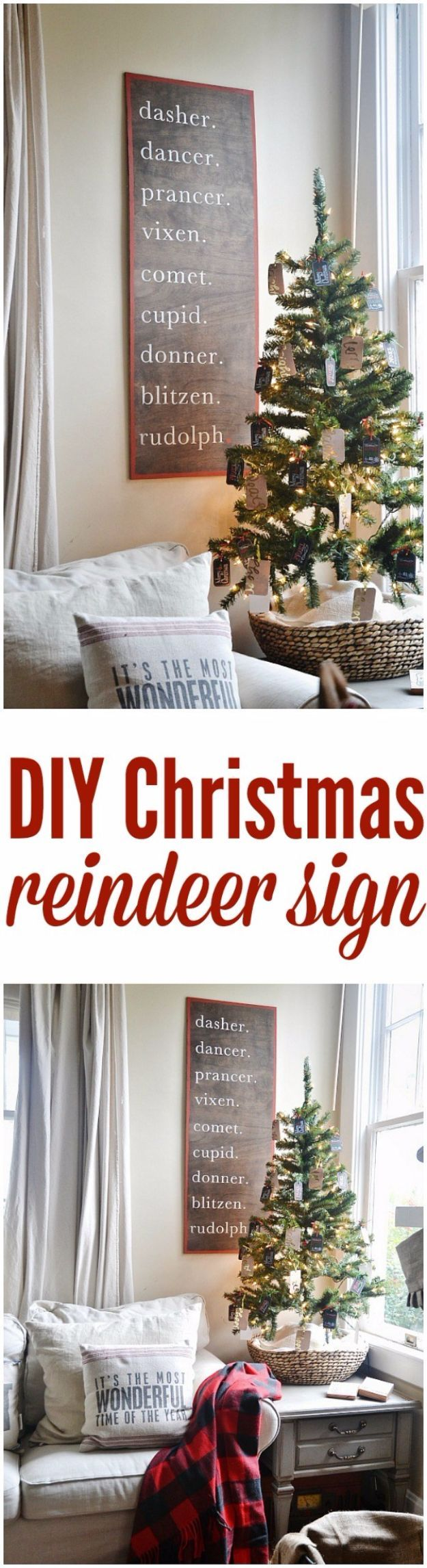 Cheap DIY Christmas Decor Ideas and Holiday Decorating On A Budget - Christmas Reindeer Sign - Easy and Quick Decorating Ideas for The Holidays - Cool Dollar Store Crafts for Xmas Decorating On A Budget - wreaths, ornaments, bows, mantel decor, front door, tree and table centerpieces - best ideas for beautiful home decor during the holidays http://diyjoy.com/cheap-diy-christmas-decor