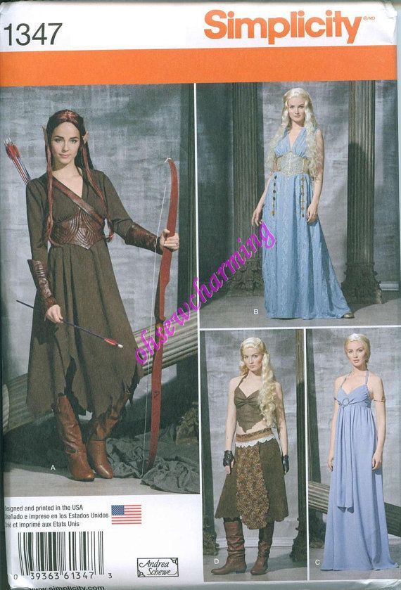 Game of Thrones Inspired Dress Sewing Pattern Simplicity 1347 UNCUT Sizes 6-8-10-12-14 Gown Daenerys Blue Tan Brown Hobbit Tauriel