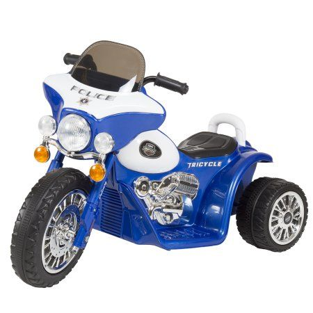 Ride on Toy, 3 Wheel Mini Motorcycle Trike for Kids, Battery Powered Toy by Hey! Play! – Toys for Boys and Girls, 2 - 5 Year Old - Police Car Blue
