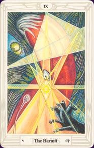 thoth deck by aleister crowley - the hermit's wisdom illuminates our true path at a crossroads