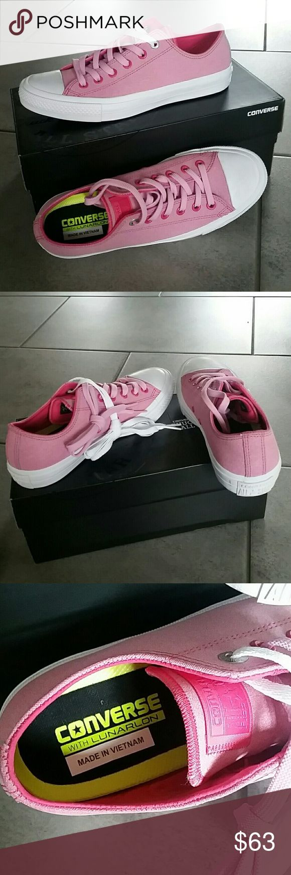 Converse Chuck Taylor All Star II Sneakers Size 9 Fun pink color that is perfect for spring!! Comes with 2 sets of laces-white and pink. Converse Shoes Sneakers