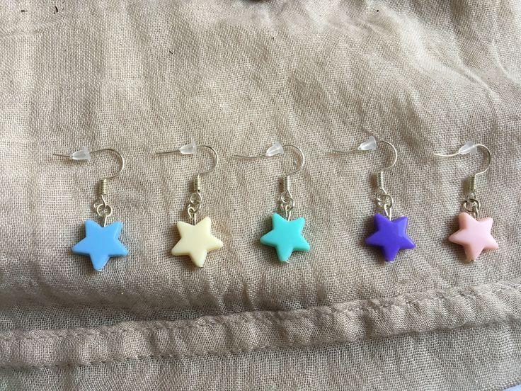 Lovely stars earrings in some colors by drsenorita on Etsy