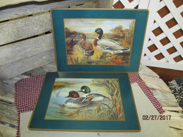 "2 Vintage Pimpernel Cork Backed Place mats Placemats Made In England Decoy Ducks 15 1/2"" x 11 1/2"" by EvenTheKitchenSinkOH on Etsy"