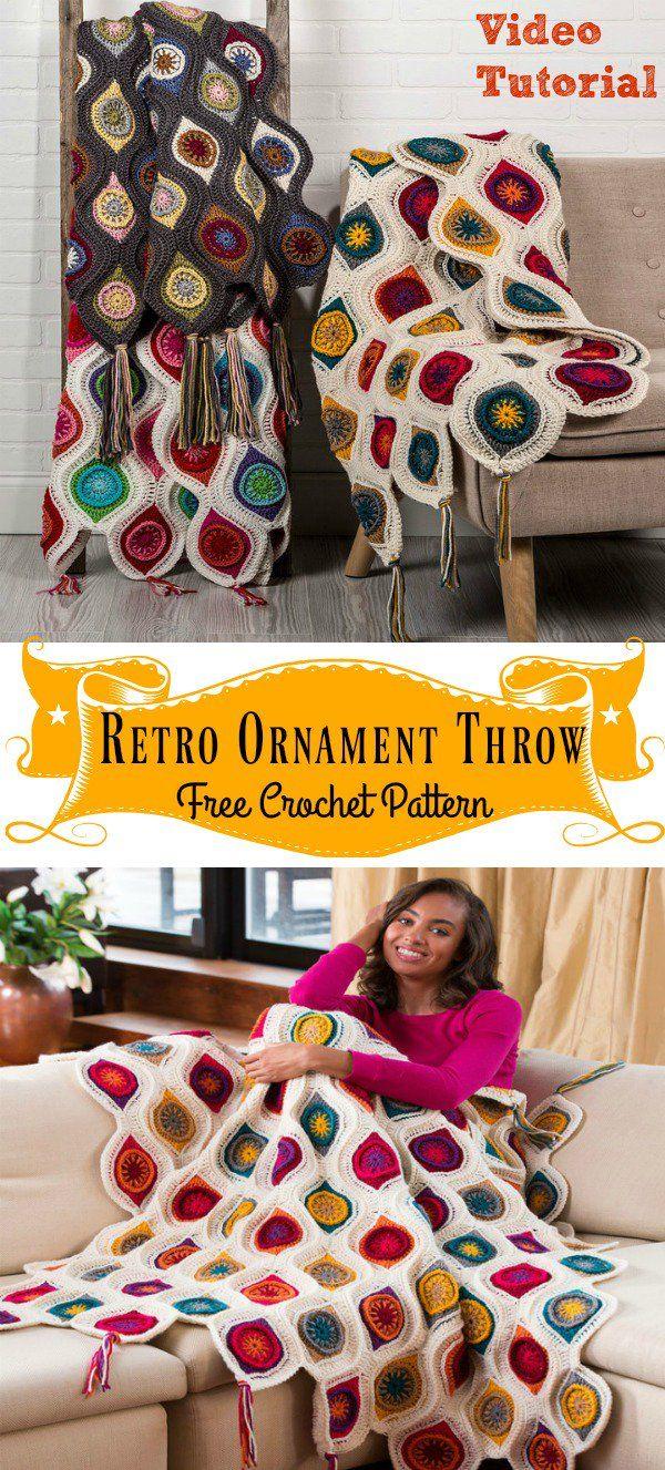 Retro Ornament Throw Blanket Free Crochet Pattern and Video Tutorial