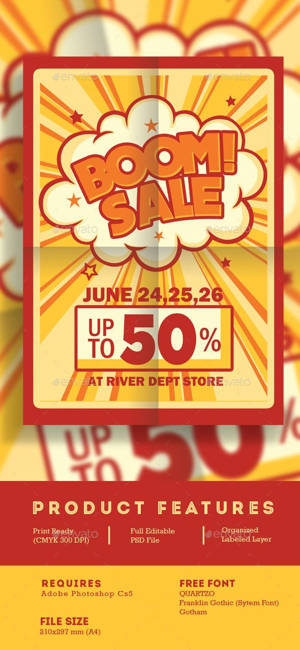 Boom Sale Promotion Flyer — Photoshop PSD #comic #american comic • Available…