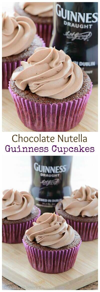 Nutella Frosted Chocolate Guinness Cupcakes - Moist and rich homemade chocolate cupcakes infused with Guinness and topped with Nutella buttercream.
