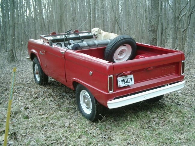 Early Bronco in all its glory with the top off, windshield down, no roll bar, uncut, with fido in the passenger seat.....looks like a half cab too!!!!