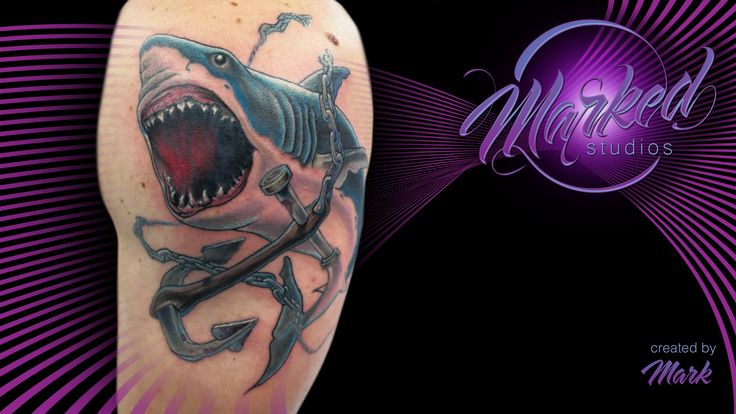 Shark and anchor breaking chains color arm great white for Ink flow tattoo