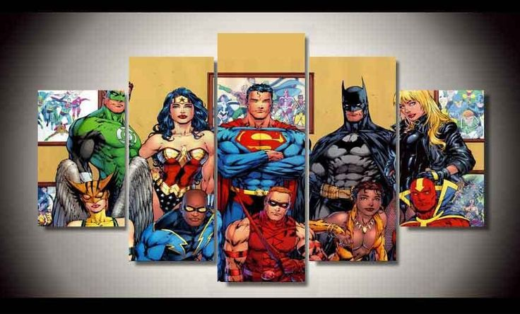 Superheroes Painting 5 Piece Canvas Room Decoration -Print poster pict – Superhero Universe