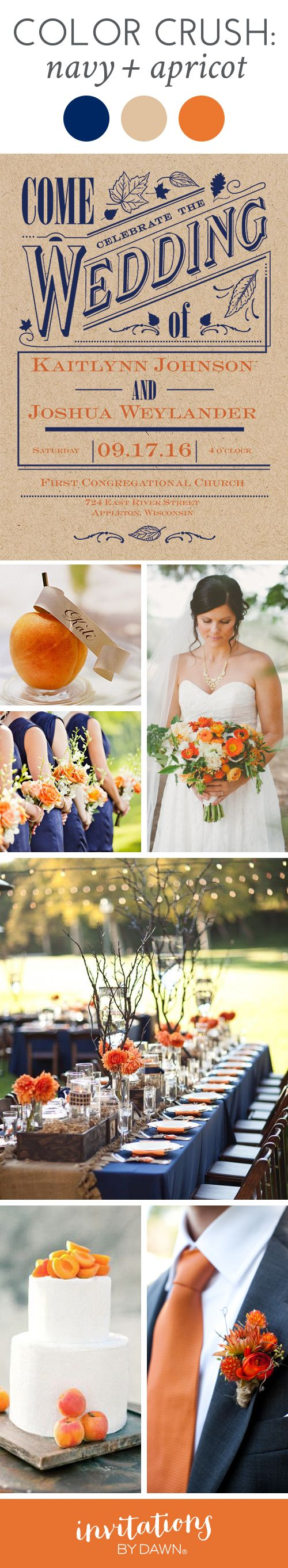 Wedding Color Crush: Navy & Apricot. An unexpected color combo for an autumn wedding #FallWedding