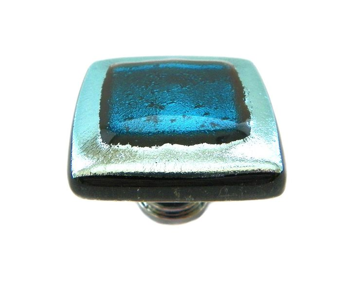 Elegant Glass Cabinet Knob In Silver And Teal Dichroic Glass By Uneek Glass  Fusions. Custom