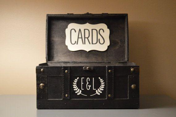 Black Vintage Wedding Card Holder Box Trunk  by AnArtsyAffair