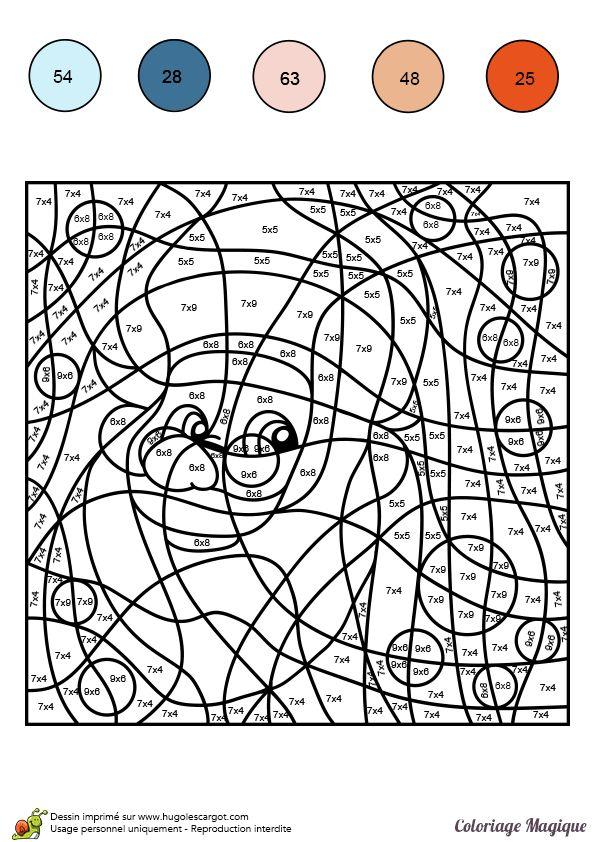 Dessin à colorier magique multiplication, le Père Noël - Hugolescargot.com