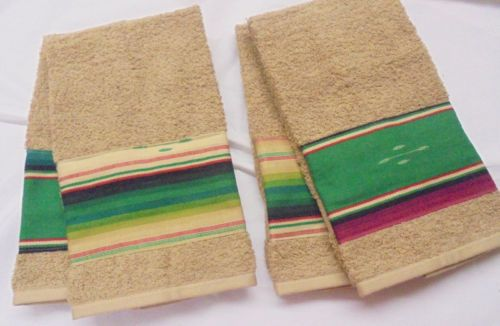 Lot of 4 Canon custom decorated hand towels featuring a Southwestern fabric!