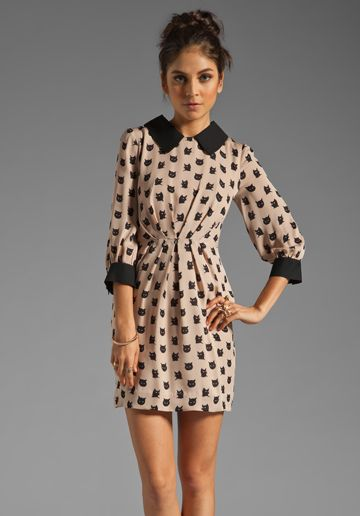 Milly > Kitty Cat Print Esther Combo Dress in Ballet